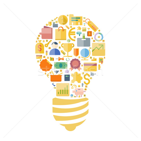 Icons for business and finance arranged in light bulb shape Stock photo © ildogesto