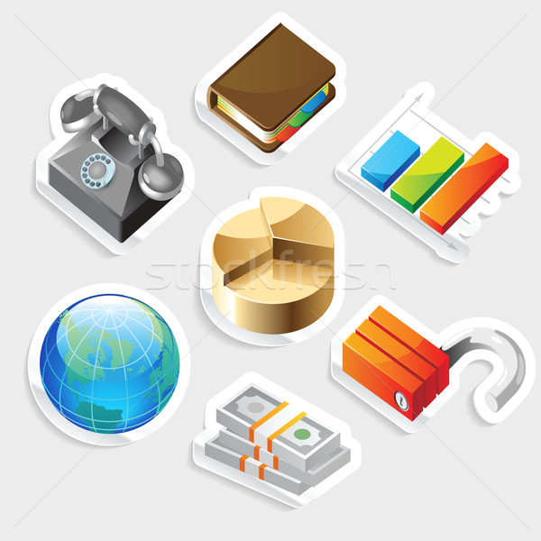 Sticker icon set for business metaphors Stock photo © ildogesto