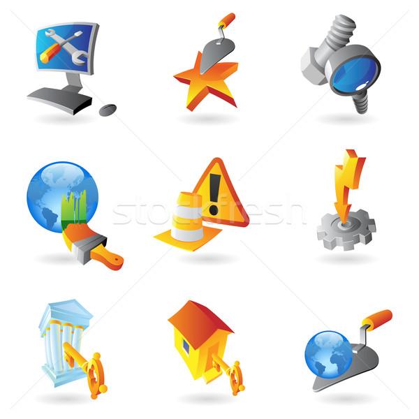 Ikona przemysłu budynku świecie budowy pracy Zdjęcia stock © ildogesto