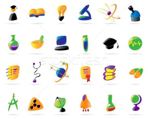 Colorful science, education and medical icons Stock photo © ildogesto