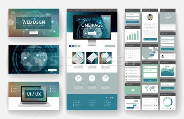 Progettazione di siti web modello interfaccia elementi sito uno Foto d'archivio © ildogesto