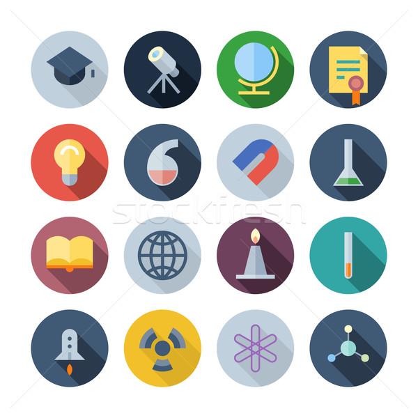 Ontwerp iconen wetenschap onderwijs eps10 transparant Stockfoto © ildogesto