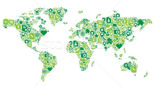 Green concept of World map Stock photo © ildogesto
