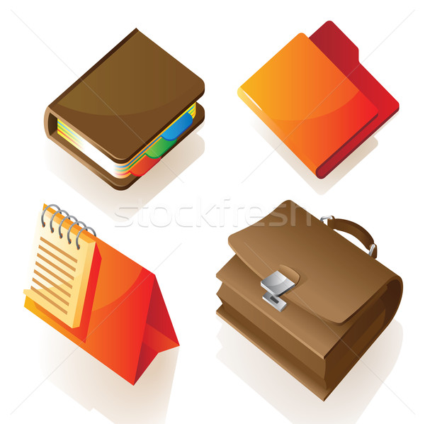 Isometric icon of work items Stock photo © ildogesto