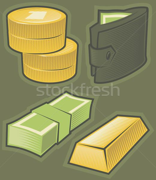 Green icons with money Stock photo © ildogesto