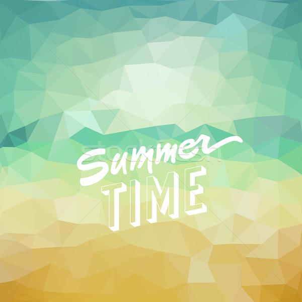 Nyári szabadság trópusi tengerpart nyár idő poszter vektor Stock fotó © ildogesto