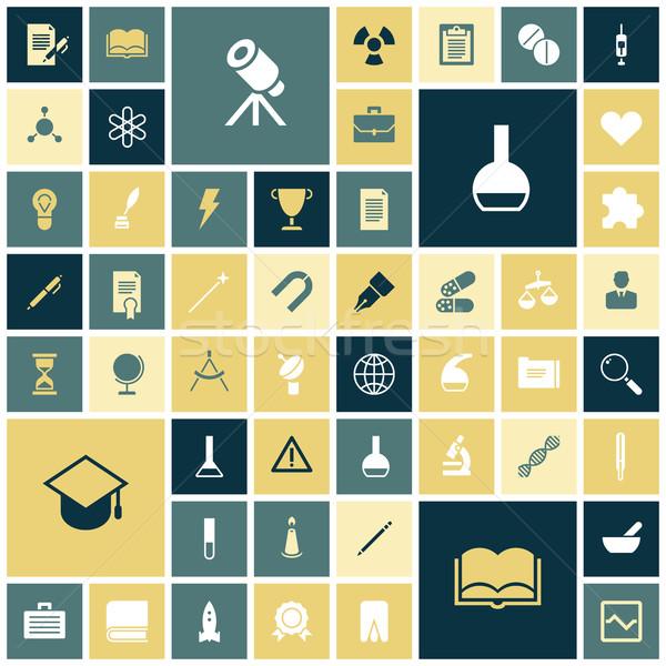 Terv ikonok oktatás tudomány orvosi könyv Stock fotó © ildogesto