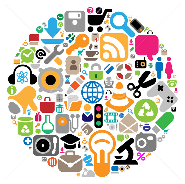 Stock photo: Icon set in circle