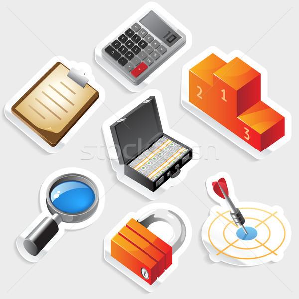 Sticker icon set for business and success Stock photo © ildogesto