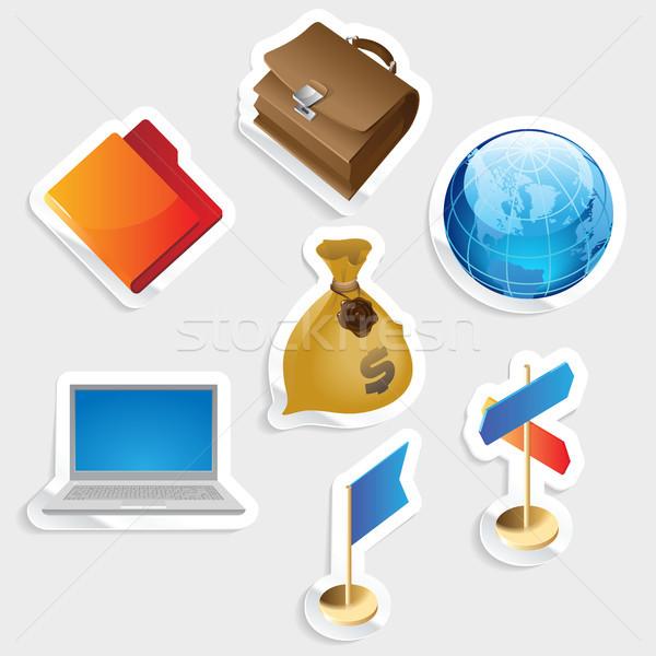 Sticker icon set for business Stock photo © ildogesto