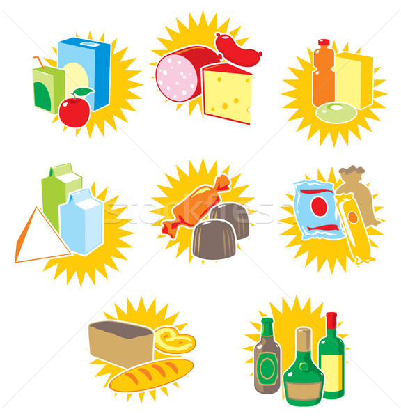 Ingesteld iconen voedsel dranken wijn achtergrond Stockfoto © ildogesto