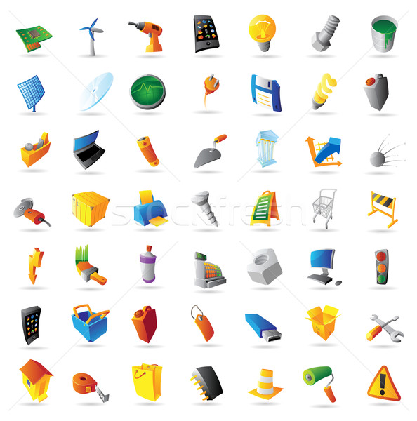 Stock photo: Icons for industry and computers