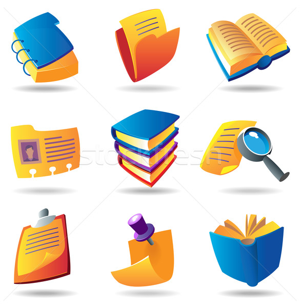 Icons for books and papers Stock photo © ildogesto