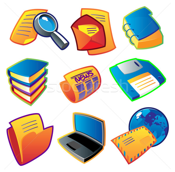 Colorful icons: information Stock photo © ildogesto