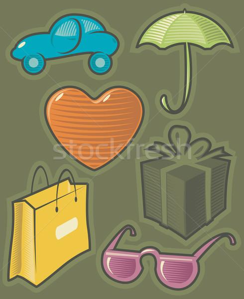Green icons for shopping Stock photo © ildogesto