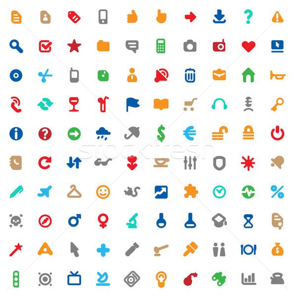 Veelkleurig iconen borden ingesteld een honderd Stockfoto © ildogesto