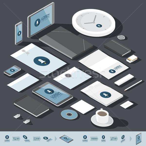 アイソメトリック 企業 アイデンティティ テンプレート デザイン ストックフォト © ildogesto