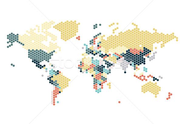 Kropkowany mapie świata Pokaż tle czerwony graficzne Zdjęcia stock © ildogesto