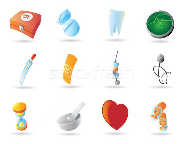 Ikonok egészség gyógyszer kórház felirat zöld Stock fotó © ildogesto