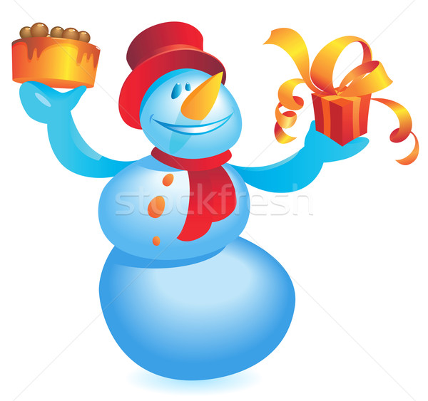 Snowman with cake and gift Stock photo © ildogesto