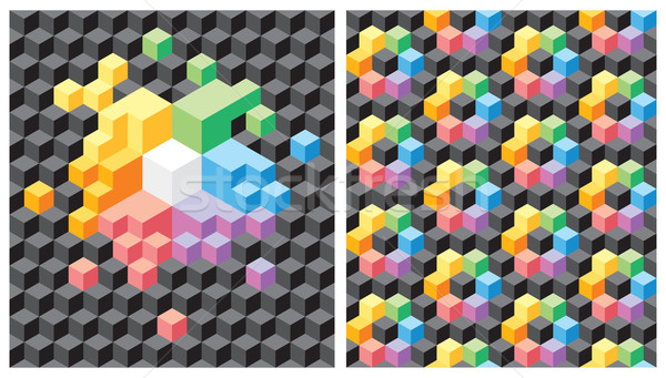 Background with black and multicolored cubes Stock photo © ildogesto
