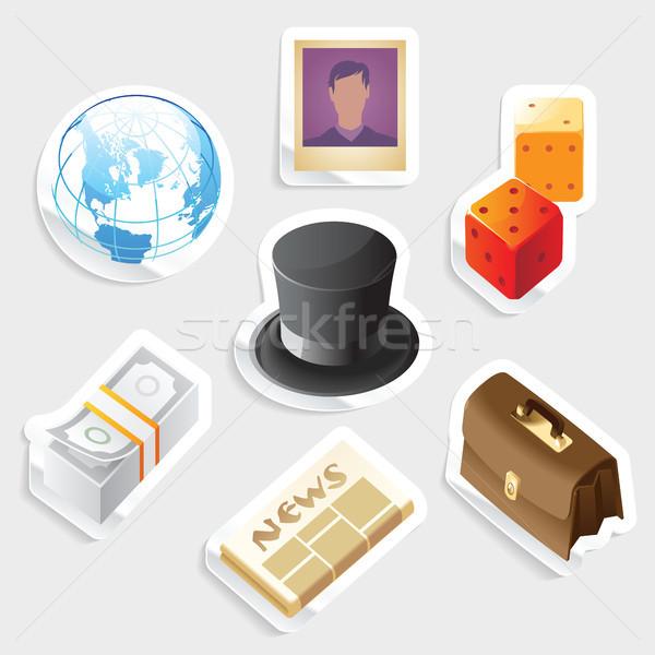 Sticker icon set for global business Stock photo © ildogesto