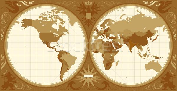 World map with retro-styled hemispheres Stock photo © ildogesto