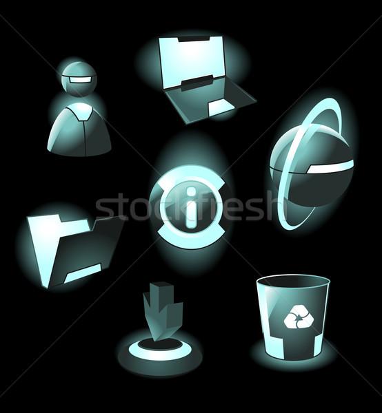 Ruimte iconen licht laptop gebruiker web Stockfoto © ildogesto