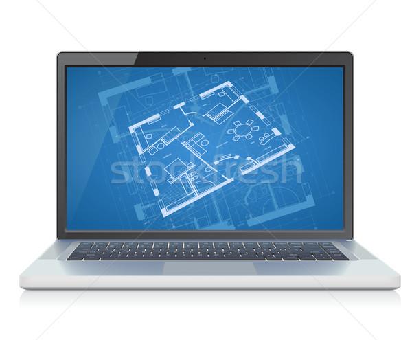 Laptop blauwdruk hoog gedetailleerd abstract bouwkundig Stockfoto © ildogesto