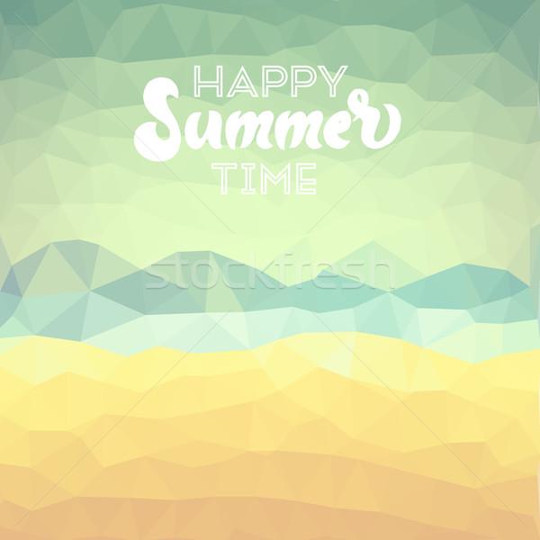 Férias de verão praia tropical feliz verão tempo cartaz Foto stock © ildogesto