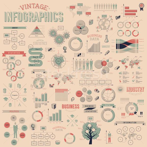 ストックフォト: セット · ヴィンテージ · インフォグラフィック · デザイン · 要素 · データ
