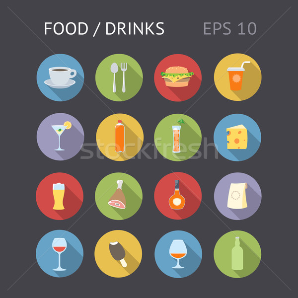 Flat Icons For Food and Drinks Stock photo © ildogesto