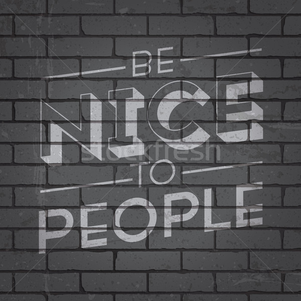 手描き スローガン レンガの壁 グランジ グレー デザイン ストックフォト © ildogesto