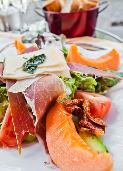 Stok fotoğraf: Taze · meyve · salata · lezzetli · domates · akşam · yemeği