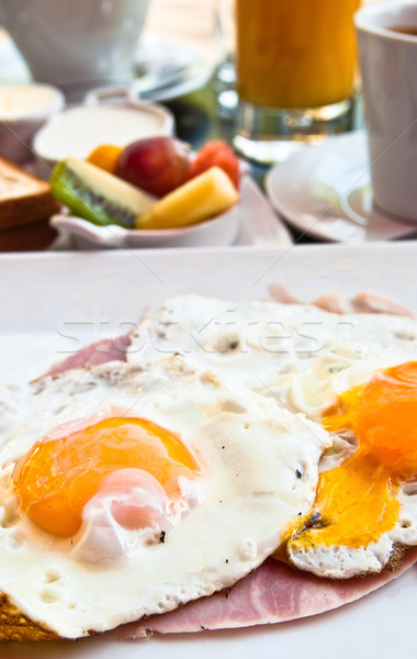 Stok fotoğraf: Kahvaltı · portakal · suyu · taze · meyve · tablo · turuncu