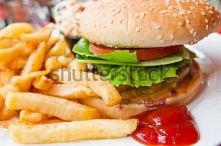 Peynir Burger amerikan taze salata restoran Stok fotoğraf © ilolab
