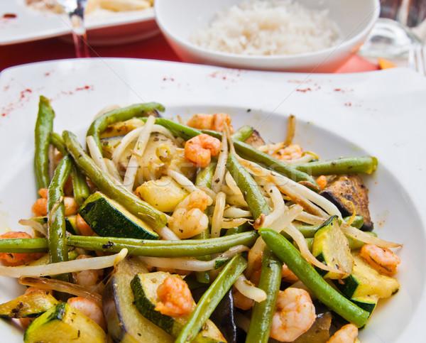 Plaka asya mutfağı fasulye bezelye garnitür gıda Stok fotoğraf © ilolab