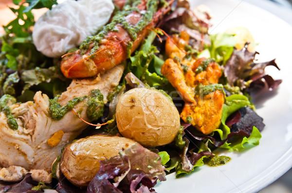 Taze tavuk salatası karides peynir yağ akşam yemeği Stok fotoğraf © ilolab