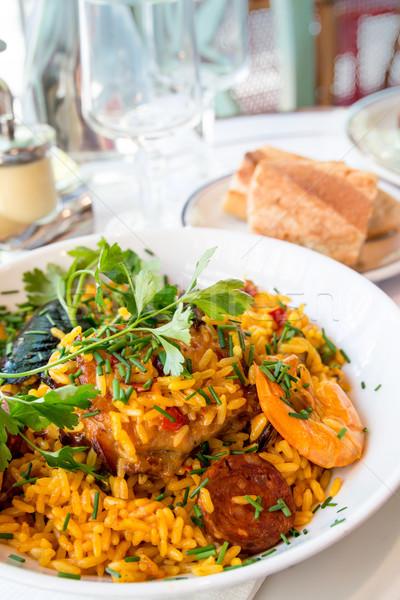 スペイン料理 クローズアップ エビ コメ 食品 魚 ストックフォト © ilolab