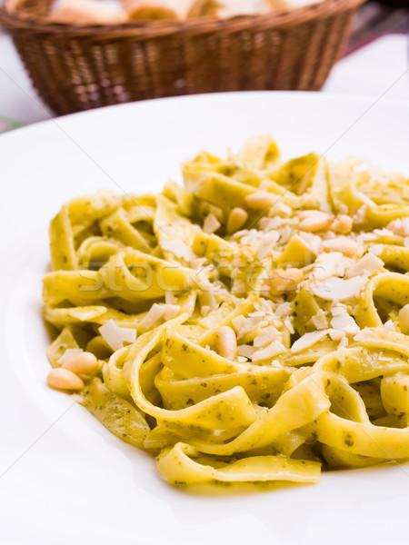 Makarna pesto sos fındık tablo gıda Stok fotoğraf © ilolab