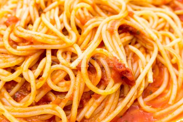Gustoso carne salsa pasta tavola foglia Foto d'archivio © ilolab