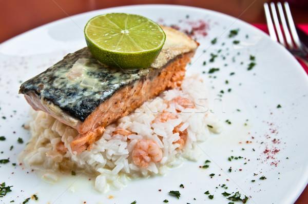 焼き 鮭 レモン フランス料理 皿 食品 ストックフォト © ilolab