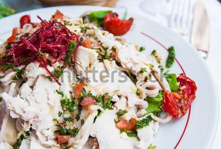 Fresco salada de frango tomates queijo Óleo jantar Foto stock © ilolab