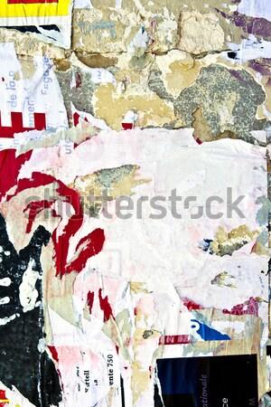 старые плакатов Гранж текстуры фоны стены Сток-фото © ilolab
