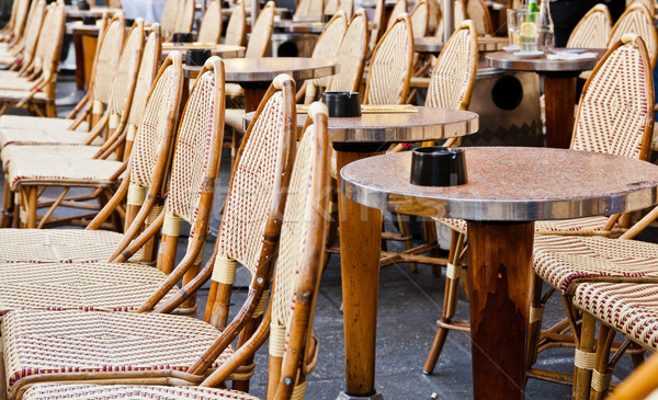 Street view of a Cafe terrace with tables and chairs,paris Franc Stock photo © ilolab
