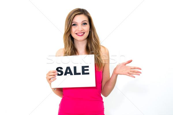 Foto stock: Mulher · conselho · venda · feliz · retrato · mulher · jovem