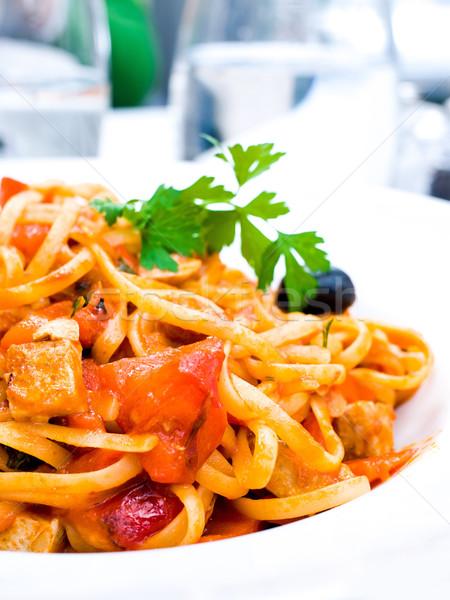 вкусный пасты мяса соус таблице лист Сток-фото © ilolab