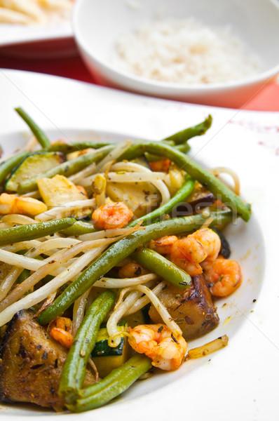 ázsiai konyha bab tányér zöldborsó körítés vacsora Stock fotó © ilolab