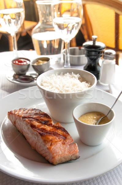 Grillowany łososia ryżu kuchnia naczyń pomidorów Zdjęcia stock © ilolab
