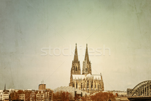 Vintage Gothic Cathedral in Cologne Stock photo © ilolab